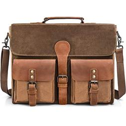 Mens Messenger Bag Vintage Genuine Leather Large Laptop Brie