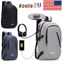 Mens Womens Digit Anti-theft Lock USB Charging Backpack Lapt
