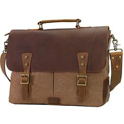 WOWBOX Messenger Bag for Men 15.6 inch Vintage Leather and C