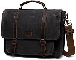 Messenger Bag for Men, Kasqo Water Resistant Waxed Canvas Le