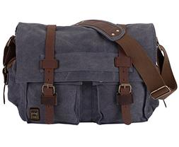 Berchirly Military Canvas Shoulder Messenger Bag Leather Str