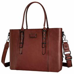 Mosiso Laptop Tote Bag  Water Resistant PU Leather Large Cap
