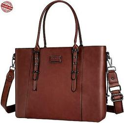 MOSISO PU Leather Laptop Tote Bag for Women  Brown c3ae81