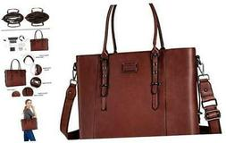 MOSISO PU Leather Laptop Tote Bag for Women , Brown