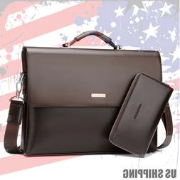 New Business Mens Leather Briefcase Bag Handbag Laptop Shoul