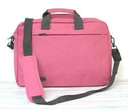 NEW BRINCH PINK LILAC NYLON BUSINESS MESSENGER LAPTOP TOTE S