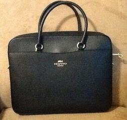 NWT COACH CROSSGRAIN LEATHER LAPTOP BAG IN BLACK- F39022.