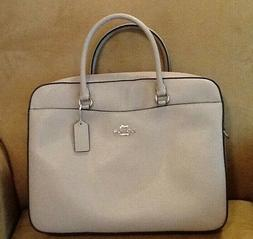 NWT COACH CROSSGRAIN LEATHER LAPTOP BAG IN GREYASH - F39022