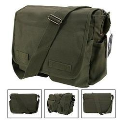 Olive Army Military Messenger Heavyweight Field Canvas Shoul