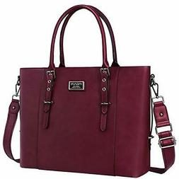 MOSISO PU Leather Laptop Tote Bag for Women