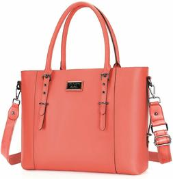 MOSISO PU Leather Laptop Tote Bag for Women , Living Coral