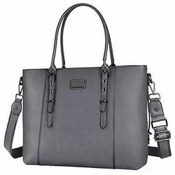 MOSISO PU Leather Laptop Tote Bag for Women ,