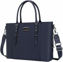 MOSISO PU Leather Laptop Tote Bag for Women , Navy Blue