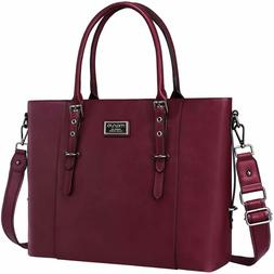 MOSISO PU Leather Laptop Tote Bag for Women , Wine Red