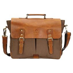 15 Inch Rustic Town Handmade Leather Canvas Vintage Crossbod