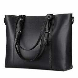 S-ZONE 15.6 inch Leather Laptop Tote Bag for Women Large Com