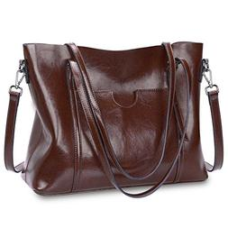 S-ZONE Women Genuine Leather Top Handle Satchel Daily Work T