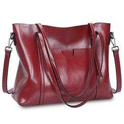 S-ZONE Women Genuine Leather Tote Purse Daily Casual Shoulde