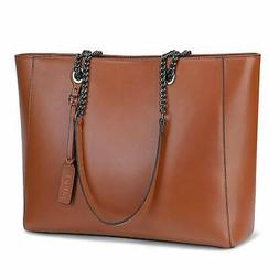 S-ZONE Women Leather Work Tote Bag Shoulder Bag Fit up to 15