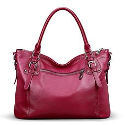 S-ZONE Women's Vintage Genuine Leather Tote Large Shoulder B