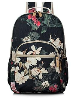 School Bookbags for Girls, Retro Floral 15.6 Inch Laptop Bac