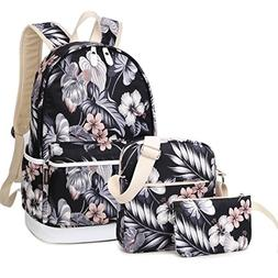 School Bookbags Casual Floral Backpack for 15.6inch Laptop f