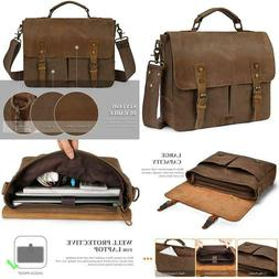 Brinch Stylish 15.6 Inch Laptop Bag Genuine Leather Canvas B