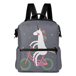 ALAZA Unicorn Ride Bicycle Casual Backpack Lightweight Trave