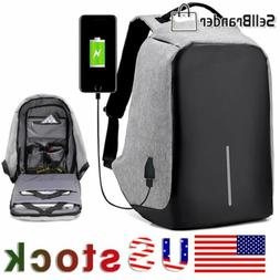Unisex Anti-Theft Backpack Laptop Travel School Bag With USB