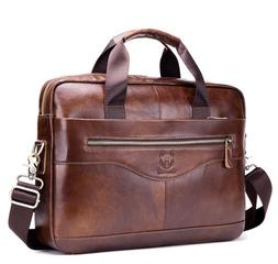 US Mens Genuine Leather Briefcase Laptop Handbag Business Sh