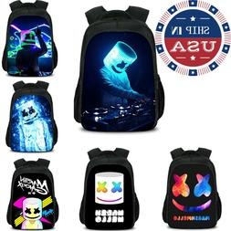 US Ship Marshmello DJ Backpack Unisex Schoolbag Marshmallo L