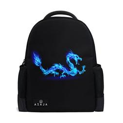Use4 Blue Dragon Abstract Polyester Backpack School Travel B