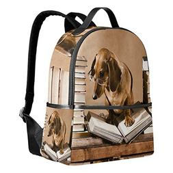 Use4 Cute Dachshund Dog Reading Book Polyester Backpack Scho