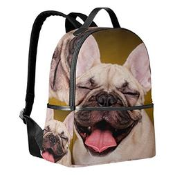 Use4 Cute French Bulldog Puppy Dog Polyester Backpack School