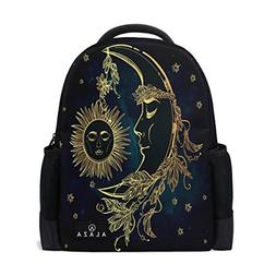 Use4 Ethnic Moon Sun Face Star Polyester Backpack School Tra