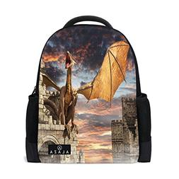 Use4 Sunset Dragon Castle Polyester Backpack School Travel B