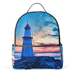 Use4 Watercolor Sunset Lighthouse Polyester Backpack School