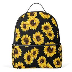 Use4 Yellow Sunflower Black Polyester Backpack School Travel