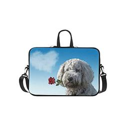 Valentines Day Dog Licking Rose Flower Pattern Briefcase Lap