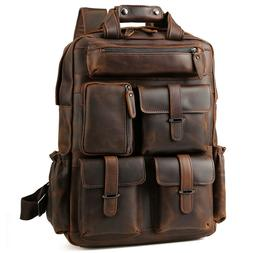 "Vintage Men Leather Backpack 17"" Laptop Bag Large Hiking Tra"