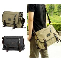 Vintage Men Messenger Shoulder Bag Canvas Crossbody School L