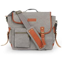 Oflamn Vintage Messenger Bag, Leather Canvas Shoulder Bag fo
