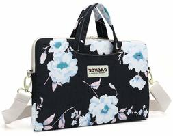 Dachee White Flower Patten Waterproof Laptop Shoulder Messen