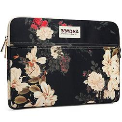 Dachee White Flowers Pattern 13 inch laptop sleeve with pock