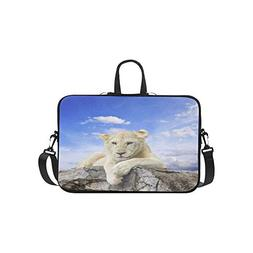 White Lion with Blue Sky Background Pattern Briefcase Laptop