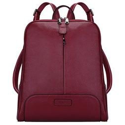 S-ZONE Women's Genuine Leather Backpack Purse Travel Bag Fit