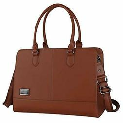 MOSISO Women Laptop Tote Bag  3 Layer Compartments, Brown