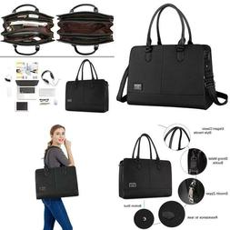 Mosiso Women Laptop Tote Bag  3 Layer Compartments, Black