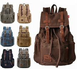 "Women Men 15"" 17"" Laptop Canvas Leather Backpack Travel Ruck"