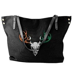 Women's Irish Flag Deer Skull Canvas Shoulder Bag Handbags T